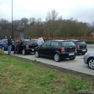 Sammeln der Osnabrücker und OWLler auf der Raststätte Tecklenburger Land und warten auf die Kolonne aus dem Norden.